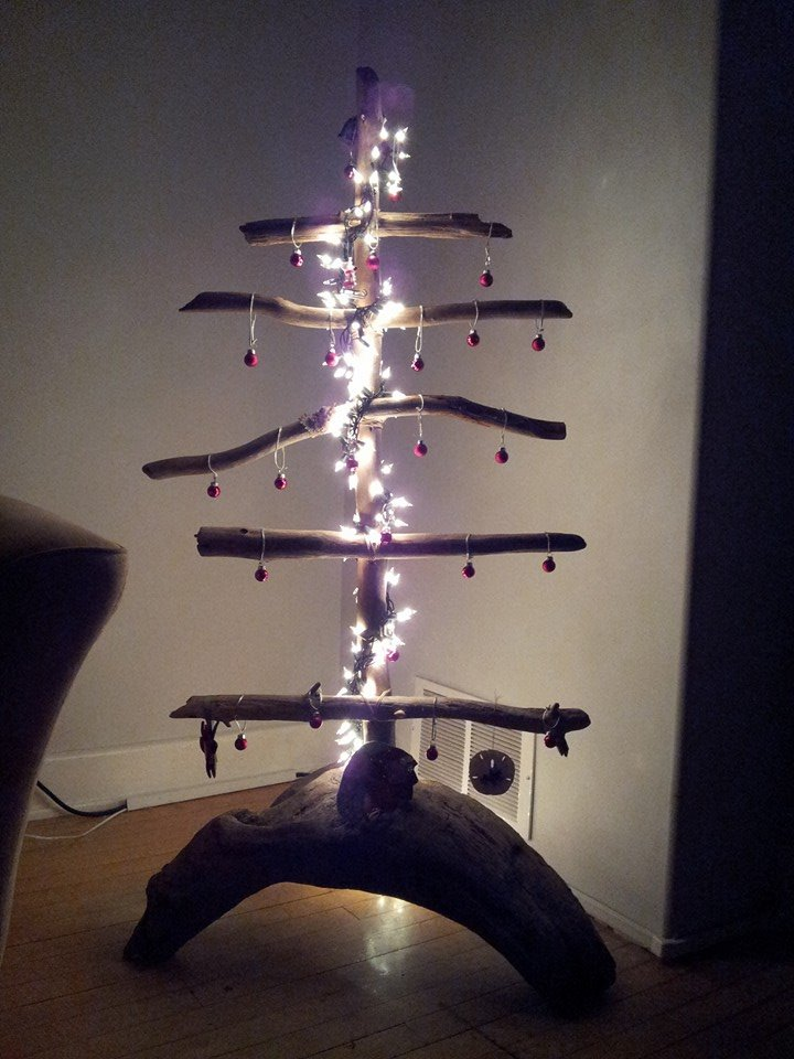 Our non-traditional, drift wood tree (2013)